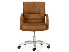 - Height-adjustable leather executive chair with 5-spoke base with armrests APOLLO | Executive chair - Quinti Sedute