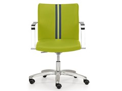 - Height-adjustable leather task chair with 5-Spoke base with armrests AURORA | Task chair - Quinti Sedute