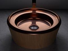 Lavabo da appoggio rotondo in acciaio inox e legnoBARN COPPER - BASSINES