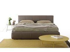 - Upholstered leather double bed BEND | Leather bed - MY home collection