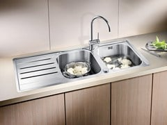 - 2 bowl built-in stainless steel sink with drainer BLANCO MEDIAN 8 S-IF - Blanco