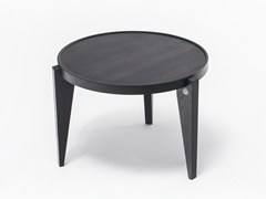 - Lacquered round English oak coffee table BONTRI BLACK - ST FURNITURE