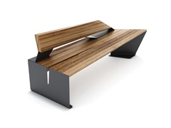Panchina modulare in acciaio e legno con schienaleCEKTA | Panchina con schienale - LAB23