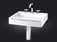 - Rectangular wall-mounted resin washbasin CINCO | Wall-mounted washbasin - Vallvé Bathroom Boutique