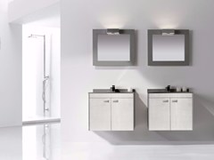 - Contemporary style single wood-product vanity unit with doors with mirror COLORS LEATHER 04 - Fiora