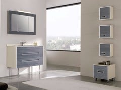 - Contemporary style single wood-product vanity unit with drawers with mirror COLORS PINEWOOD 08 - Fiora