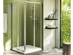 - Corner tempered glass shower cabin with sliding door CONNECT - mod. A - Ideal Standard Italia