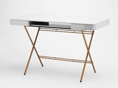 - MDF writing desk with drawers COSIMO GREY GLOSSY LACQUERED GOLD - Adentro