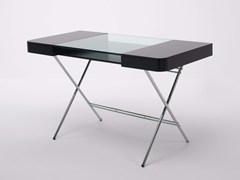 - MDF writing desk with drawers COSIMO LAQUÉ NOIR MAT - Adentro