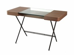 - Wood veneer writing desk with drawers COSIMO WALNUT CANALETTO - Adentro