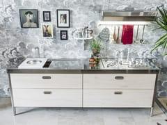 Cucina lineare in acciaio inox in stile modernoCUCINA 250 LEGNO | Cucina in stile moderno - ALPES-INOX