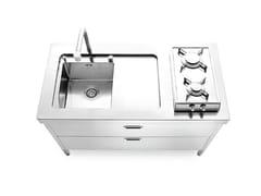 Modulo cucina freestanding in acciaio satinatoCUCINE 130 - ALPES-INOX