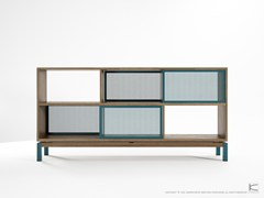 - Double-sided teak sideboard with sliding doors COLOR BE BOP SEE-THROUGH - KARPENTER