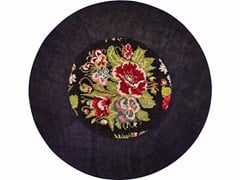 - Contemporary style round hemp rug with floral pattern DANDY STRASS FIORI NERO | Round rug - ITALY DREAM DESIGN - Kallisté