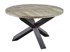 - Round reclaimed wood dining table DB004133 - Dialma Brown