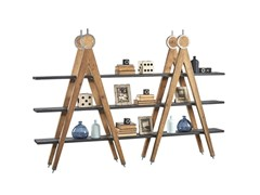 - Open double-sided pine shelving unit DB004523 | Double-sided shelving unit - Dialma Brown