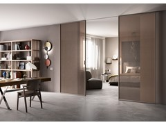 - Sliding tempered glass partition wall DELINEO - FERREROLEGNO