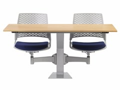- Modular MDF study table with integrated chairs DIDAKTA SQUARE D 20 - TALIN