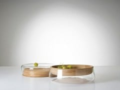 - Wood and glass fruit bowl DOUBLE BOWL - PER/USE