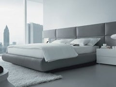 - Leather double bed with upholstered headboard DREAM | Imitation leather bed - Poliform