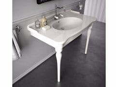 - Console ceramic washbasin ELLADE | Washbasin with integrated countertop - Hidra Ceramica