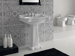 - Rectangular ceramic washbasin ELLADE | Pedestal washbasin - Hidra Ceramica