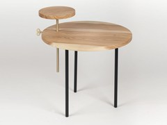Tavolino in acciaio, frassino e ottoneETTORE - CAR-MET