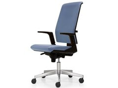- Height-adjustable leather task chair with 5-Spoke base with armrests FIVE | Task chair - Quinti Sedute