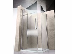 - Corner shower cabin with hinged door FLARE FA+FF - VISMARAVETRO