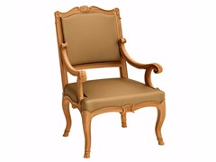 - Upholstered teak garden armchair FLEUR DE LYS | Armchair with armrests - ASTELLO