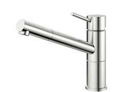 - Brushed-finish stainless steel kitchen mixer tap FLOW FL-100 - Nivito