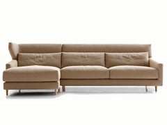 - Fabric sofa with headrest FOLK | Sofa with chaise longue - SANCAL