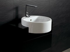 - Semi-inset round ceramic washbasin FORM 46 ROUND | Semi-inset washbasin - Alice Ceramica