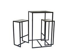 - Square metal high table with 2 bar stools FRAME | High table - Pols Potten