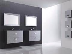- Wall-mounted polyurethane vanity unit with drawers with mirror FUSSION FLORES 01 - Fiora