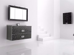 - Wall-mounted polyurethane vanity unit with drawers with mirror FUSSION NUBES 02 - Fiora