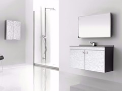 - Wall-mounted polyurethane vanity unit with doors with mirror FUSSION NUBES 03 - Fiora