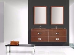 - Wall-mounted polyurethane vanity unit with drawers with mirror FUSSION ONDAS 01 - Fiora