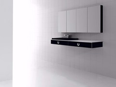 - Wall-mounted polyurethane vanity unit with drawers with mirror FUSSION PLANO 01 - Fiora