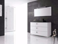 - Polyurethane vanity unit with drawers with mirror FUSSION PLANO 03 - Fiora