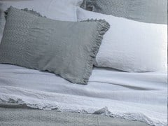 - Solid-color embroidered linen bedding set GENZIANA | Bedding set - LA FABBRICA DEL LINO by Bergianti & Pagliani