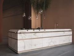 Cucina componibile in marmo Calacatta Oro e rameGINGER - FENDI CUCINE MARCHIO IN LICENZA D'USO ALLA DITTA SCIC
