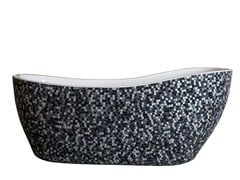 Vasca da bagno centro stanza ovaleGLASS & MARBLE - SILVER BLACK - SAIKALLYS