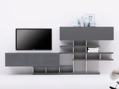 - Modular TV cabinet with shelves GRAPHOS-CHARLOTTE | Double-sided TV cabinet - Silenia