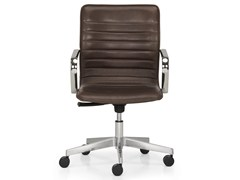 - Height-adjustable leather task chair with 5-Spoke base with armrests ICE | Task chair - Quinti Sedute