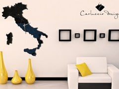 - Wall-mounted stainless steel clock ITALIA BLACK LACQUERED - Carluccio Design