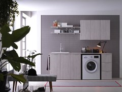 Mobile lavanderia in nobilitato con lavatoio per lavatriceKANDY 01 - IDEAGROUP