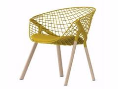 - Steel and wood easy chair KOBI LOUNGE WOOD - 046 - Alias