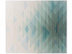 - Handmade rectangular fabric rug with optical pattern LAKE GREEN - Golran