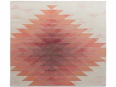 - Handmade rug with optical pattern LAKE RED - Golran